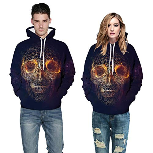 Best Bargain 3D Skull Print Hoodies, Unisex Realistic Graphic Pullover Drawstring Fleece Couple Swea...