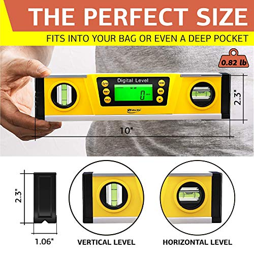 Digital Magnetic Level Tool - 10 Inch Torpedo Level and Protractor - Master Precision - IP54 Dustproof and Waterproof - Includes: 2 AAA Batteries and Carrying Case