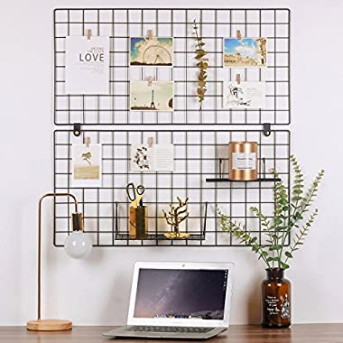 Kufox Painted Wire Wall Grid Panel, Multifunction Photo Hanging Display and Wall Storage Organizer, Pack of 2, Size 31.5  x 15.8 , Black