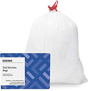 Amazon Brand - Solimo Tall Kitchen Drawstring Trash Bags, Clean Fresh Scent, 13 Gallon, 200 Count