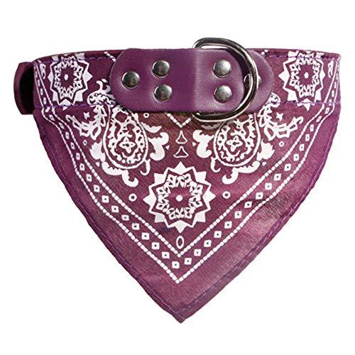 Qingsb verstelbare hond bandana leer bedrukte zachte kraag voor hondenbenodigdheden kat hond sjaalkraag voor chihuahua puppy huisdier halsdoek, paars, XL