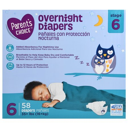 Parent's Choice Size 6 Overnight Diapers, 58ct
