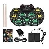 Wzz Electronic Drum Set, Portable Rotola in su Batteria, Bluetooth Mano Rullo di Tamburi, Pratica Drum Pad, per Principianti, Bambini dei Capretti Regali di Compleanno, Regali di Festa