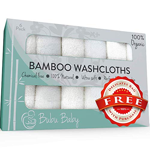 Bamboo Baby Washcloths - Dual Layer Ultra Soft Face Cloth - Organic Bamboo Towel Set - Absorbent Wash Cloths - Gentle on Sensitive Skin - Baby Registry & Shower Gift (6 Pack)