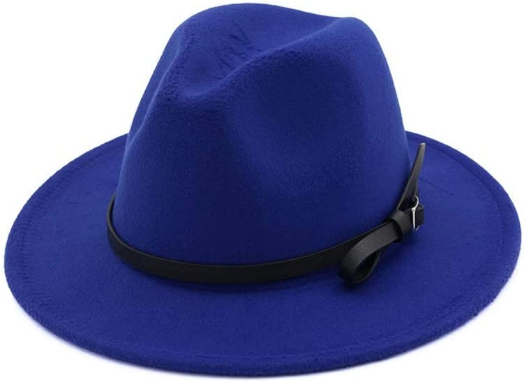 No-branded Women Men Fedora Hat Wool Hat Pop Hat Wide Brim Hat Church Fascinator Wide Brim Jazz Hat ZRZZUS (Color : E Blue, Size : 56-58)