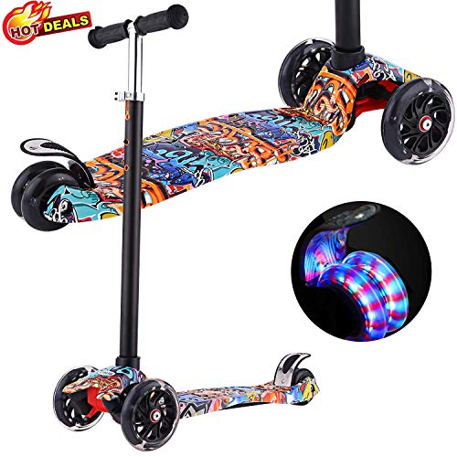Scooters for Kids Kick Scooter with Adjustable Height | ExtraWide Deck | PU Flashing 3Wheels Cool Scooter for Kid from 2 to 14 YearOld Re Street Dance Doodle