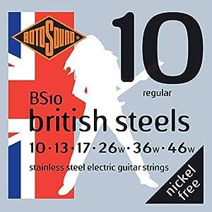 Tipo de producto: juego de cuerdas para guitarra eléctrica Material: acero inoxidable británico Calibres: 10-13-17-26-36-48 Sin níquel