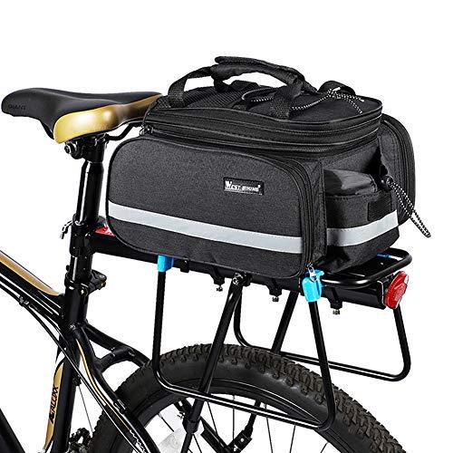 Alforjas Bicicleta MontañA Impermeable Alforjas Bicicleta Multifuncional Extensible Bolsa Portaequipajes De Bicicleta Accesorios De Ciclismo Black,Free Size
