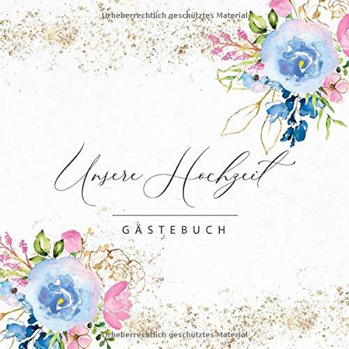 Gästebuch: Unsere Hochzeit: Motiv: Blau und Gold • Hochzeits-Gästebuch mit Fragen und zum...
