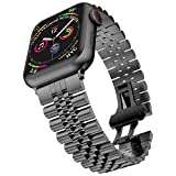 baozai Compatible with Apple Watch 44mm 42mm Band Series 6/5/4/3/2/1/SE, Stainless Steel iWatch Band with Butterfly Folding Clasp for Men, Space Gray, 44mm/42mm