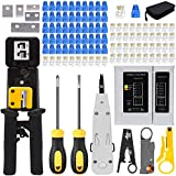 LEATBUY RJ45 Crimping Tool Kit for RJ11/RJ12/CAT5/CAT6/Cat5e, Professional Computer Maintenacnce Lan Cable Tester Network Repair Tool Set,Wire Crimper Wire Connector Stripper Cutter (Black)