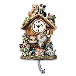 The Bradford Exchange Frolicking Felines Fully Sculpted Hand-Painted Cat-Themed Cuckoo Clock