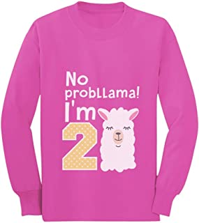 Gift for 2 Year Old No Probllama 2nd Birthday Toddler/Kids Long Sleeve T-Shirt