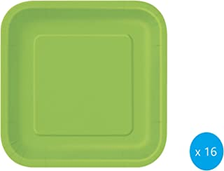 Lime Green Solid Square 7 inch Dessert Plates, 16ct, Unisex