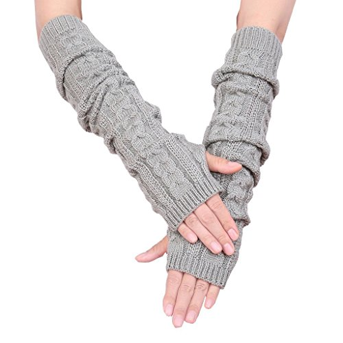 Colorful House Fingerless Thumb Hole Long Gloves Mittens Winter Arm Warmer (19 Inch, Light Grey (New Pack))