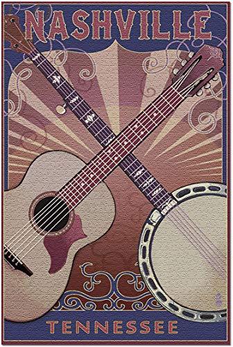 Romance-and-Beauty Nashville, Tennessee Gitarre und Banjo Music Premium 500-teiliges Puzzle für Erwachsene, 15 x 20,5 Inch