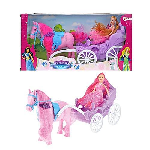 Toi-Toys Pferd mit Kutsche und Prinzessin 05956A Glitzerpferd Prinzessin Kutsche Schloss Fantasie Mädchen