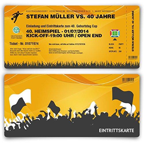 Einladungskarten zum Geburtstag (30 Stück) als Fussballticket Einladung Ticket Fußball Orange