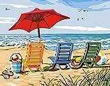 Pintar Por Numeros Silla De Playa Pintura Para Pintar Por Números Con Pinceles Y Colores Brillantes - Cuadro De Lienzo Con Numeros Dibujados Para Adultos Y Niños,40X50Cm Sin Marco