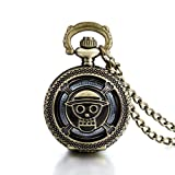 Reloj de Bolsillo Steampunk Colgante de Bronce Vintage Skull on Lid 30'Chain Block Watch