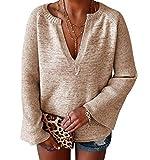 Sueter Mujer Escote V Jersey Punto Mujer Oversize Suéter Jerséis Jerseys Gruesos Mujeres Sueteres Jerseis Señora Manga Larga Invierno Largo Suéteres Señora Pullover Sweater Tallas Grandes Caqui M