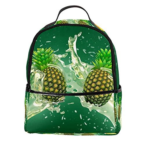 FURINKAZAN Mini mochila de piel sintética con diseño de jugo de piña con fondo verde