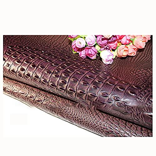 Yimihua Patrón de cocodrilo Tela de Cuero Artificial Manualidades de Bricolaje sofá Silla Funda de Asiento Maleta de Cuero Material Interior 140x100 cm,Vendido por Metro(Color:púrpura)
