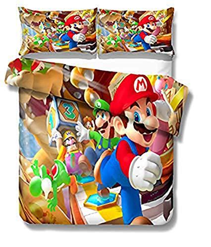YZHY - Juego de cama de matrimonio con estampado animado 3D de Super Mario Bros (juego de sábanas doble y 1 funda de almohada)