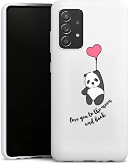 Siliconen Hoesje compatibel met Samsung Galaxy A52 TPU Case Wit Telefoonhoesje Liefde Panda Transparant