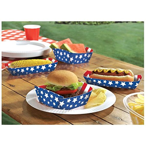 Festive Red White and Blue Assorted Patriotic Food Trays