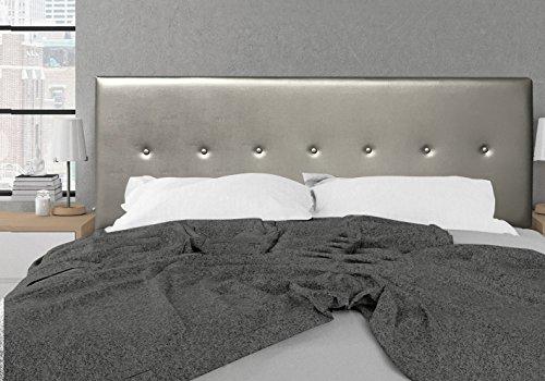 SUENOSZZZ-ESPECIALISTAS DEL DESCANSO Cabecero de Cama Dakota tapizado en Polipiel para Camas de 90 (100 x 57 cm) Polipiel Plata