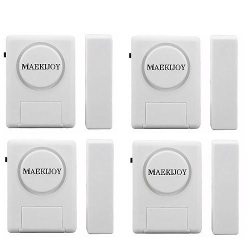 Kit d'alarme de porte / fenêtre 100dB, [4 pièces] MAEKIJOY Mini alarme antivol déclenchée magnétiquement pour les portes ou les fenêtres, Gardien de sécurité à la maison