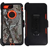Heavy Duty Impact Rugged with Built-in Screen Protector Camouflage Protective Case Cover with Clip for Apple iPhone 8(Orange-Tree-Camo)