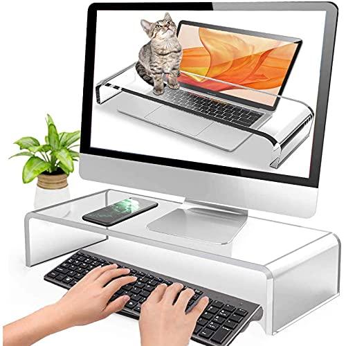 YWYW Cubierta acrílica Transparente Anti-Gatos, Soporte para Monitor, Soporte para computadora portátil, Soporte de Escritorio para computadora, Estante de exhibición, Ahorra Espacio y diseño, có