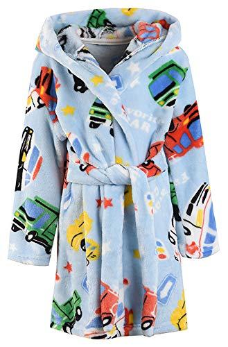 LLXX Kinder Bademäntel für Mädchen Jungen, Baby Kleinkind Robe Mit Kapuze Flanell Bademantel Pyjamas Nachtwäsche für Mädchen Jungen (Auto, 5T / Höhe120cm)