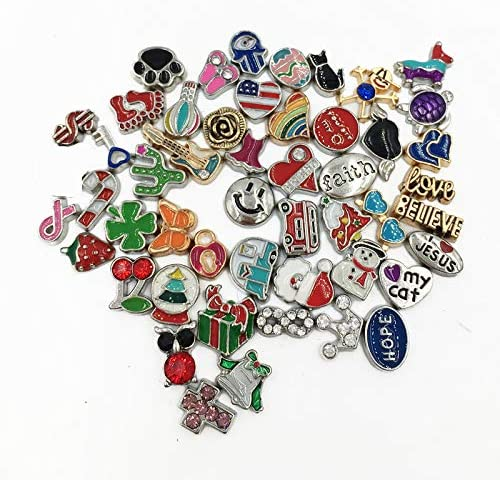 Metal Floating Charms Lot for DIY Glass Living Memory Locket Silver Gold Color Mixed Style 100Pcs product image