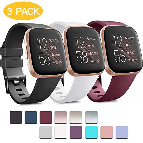 Pack 3 Soft Silicone Bands for Fitbit Versa 2 / Fitbit Versa/Fitbit Versa Lite Classic Adjustable Sport Bands for Women Men Small Large(Without Tracker) (Large, Black+White+Wine Red)