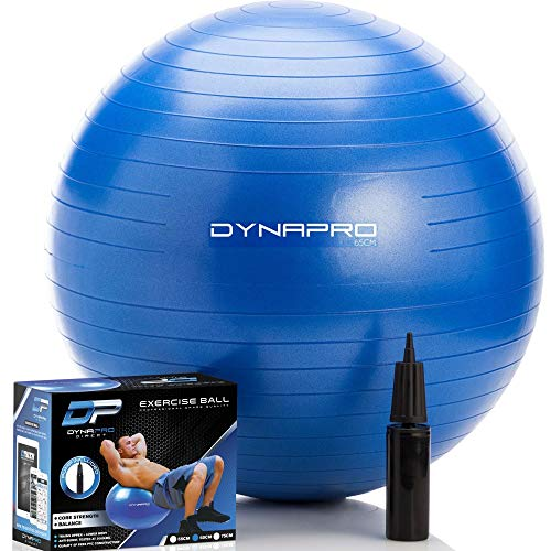 DYNAPRO Exercise Ball – Extra Thick Eco-Friendly & Anti-Burst Material Supports Over 2200lbs – Stability Ball for Home, Gym, Chair, Birthing Ball (Blue, 65 Centimeters)