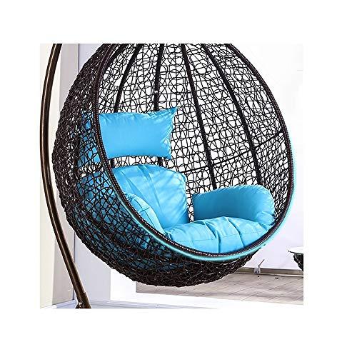 Hängendes Korbstuhl Kissen,Korbsessel Sessel,Hängesessel Zum Aufhängen - Mit Rundem Sitzkissen - Belastbarkeit 50 * 60 cm (Color : Blue, Size : 50 * 60cm)