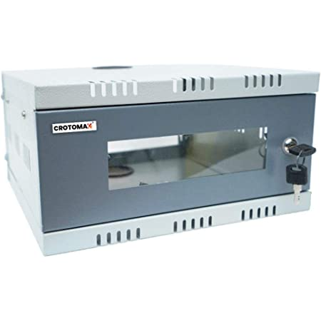 Crotomak 1U CCTV DVR Rack/NVR/Server/Network Rack with 3 Power Socket Plug Transparent Glass Door Metal Cabinet Box(Size 1: 30cm X 30cm X 15cm)