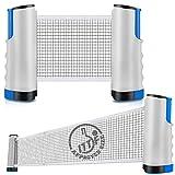 NICEMOVIC Filet de tennis de table rétractable pour tennis de table portable, accessoires de ping-pong, table de ping-pong, bureau et table à manger Longueur réglable 170 (max) x 14,5 cm, gris/bleu