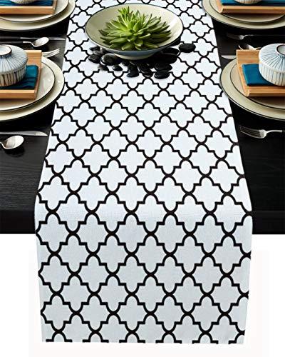 FAMILYDECOR Camino de mesa de arpillera de lino, bufandas de 33 x 228 cm, diseño de azulejos geométricos marroquíes, caminos de mesa para fiestas de vacaciones, comedor, cocina, decoración de boda