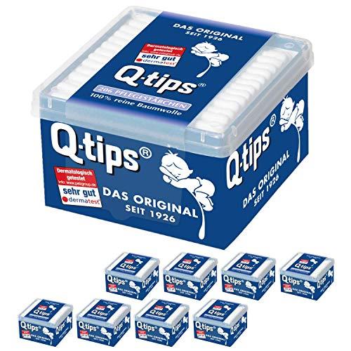 Q-tips® Pflegestäbchen mit Papierschaft, Würfelbox, Vorteilspack (9x 206 Stück), 100% biologisch abbaubar, Baumwolle ohne Plastik