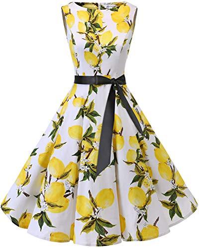 Bbonlinedress 50s Retro Schwingen Vintage Rockabilly Kleid Cocktail Faltenrock Lemon 3XL