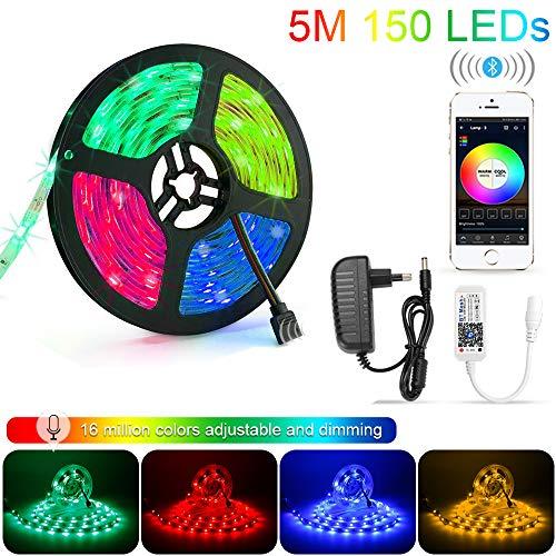 Striscia LED RGB 5M Strisce Luminose Luci LED Strip Lights 300LEDs SMD5050 Impermeabili + Bluetooth Controller Nastri Decorativa per Casa TV Feste