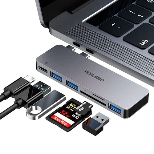 FLYLAND USB C Hub MacBook Adapter für MacBook Pro 2020/2019/2018,MacBook Air 2020/2019 USB C Adapter mit Thunderbolt 3 USB C-Anschluss,100 W Stromversorgung,3 USB 3.0-Anschlüssen,SD/TF Kartenleser