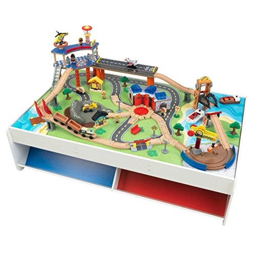 KidKraft Railway Express Wooden Train Set & Table with 79Piece & Two Storage Bins