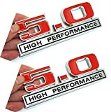 2x 3D Metal 5.0 High Performance Emblem Allloy Badge Sticker Nameplate Replacement for Universal Application (Black Red)