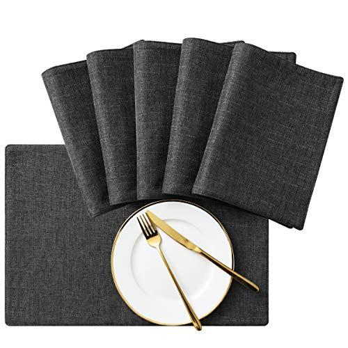 Subrtex Mantel individual de lino resistente al calor, lavable a máquina y antideslizante, para mesa de comedor, Lino, Gris, 6 unidades