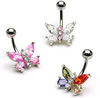 Two Tone Butterfly Navel Ring 316L Surgical Steel
